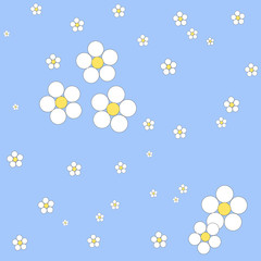 Seamless floral pattern on a blue background. Vector