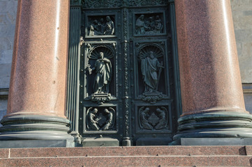 Western Doors of St. Isaac's Cathedral in Saint-Petersburg