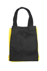black any yellow cotton eco bag on white background