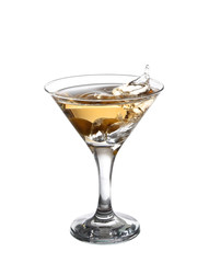 A martini glass on a white background;