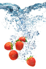 Strawberry falls deeply under water