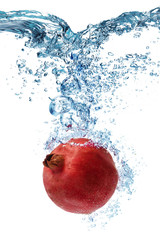 Pomegranate falls deeply under water