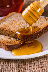 toast drenched with honey close-up