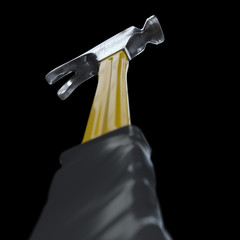 Hammer in perpective On isolate black background