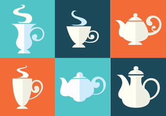 tea cups and teapots in flat style