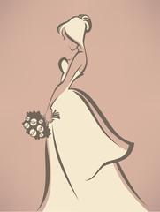 romantic bride in white dress
