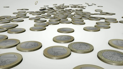 scattering of euro coins