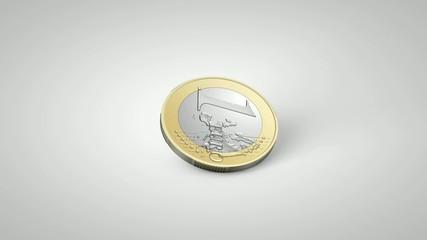 rotating coin 1 euro
