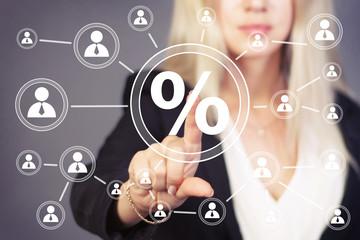 Businesswoman pushing web button percent icon