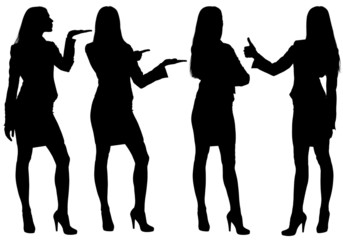 Business woman standing silhouette showing gestures