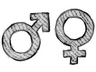 Hand drawn sketch of gender symbols with light hatching