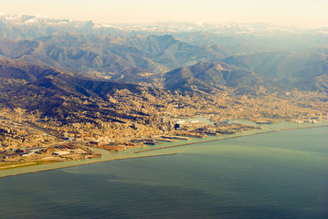 Genoa. From the bird's flight.