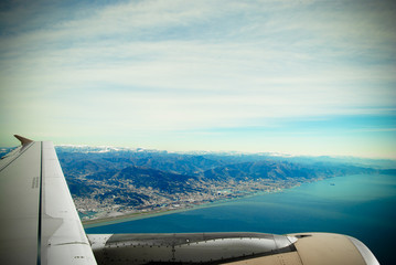 View from the plane. Genova
