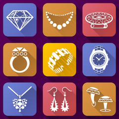 Flat icons set of jewelry elements for luxury industry