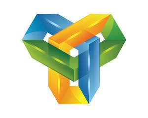3D logo - software logo - technology - vector logo