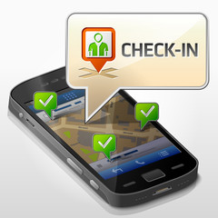 Smartphone with message bubble about check-in. Dialog box