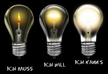 Glühbirne - ich muss, ich wil, ich kann es