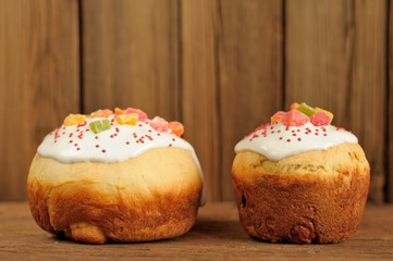 Kulich, Russian easter yeast sweet breads decorated with icing o