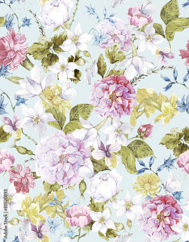 Floral Vintage Seamless Watercolor Background - 80520893