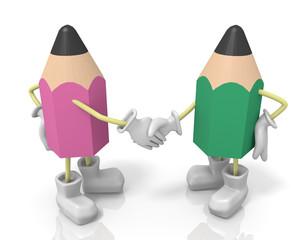 握手する鉛筆キャラクター