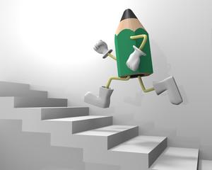 階段を上る鉛筆キャラクター