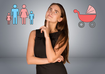 Business woman thinking over buggy and family