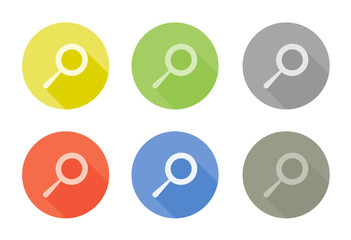 Collection of search symbol rounded icon with shadow different