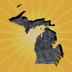 Michigan map on dollars sunburst illustration