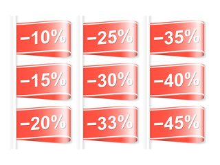 Set of discount labels. Part one. Vector illustration