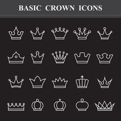 Basic Crown ,Line icons set