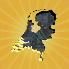 Netherlands map on euros sunburst illustration
