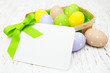 Easter greeting card with easter eggs - 80522079