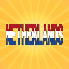 Netherlands flag text with sunburst illustration
