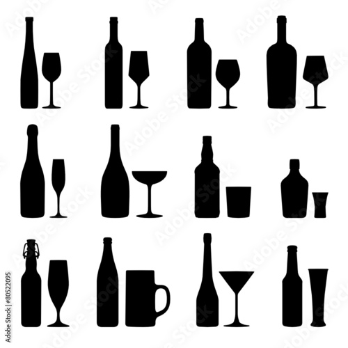 Alkoholische Getränke Silhouetten Set