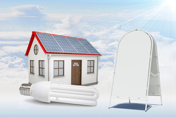 White house with red roof, solar panels, sidewalk sign in clouds
