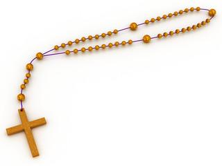 3d illustration of Christian cross chain