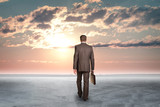 Concrete fissures surface. Man standing back. Sunset poster