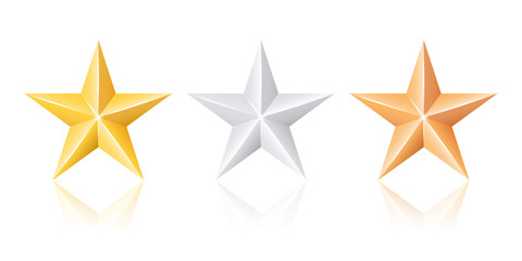 Gold silver and bronze stars