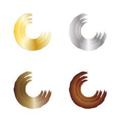 Dreiviertelkreis in Gold, Silber, Bronze