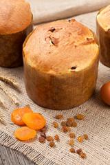 Traditional italian panettone cake desset bread with raisins