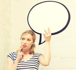 pensive teenage girl with blank text bubble