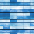 canvas print picture - Office wall made of blue glass, seamless photo texture