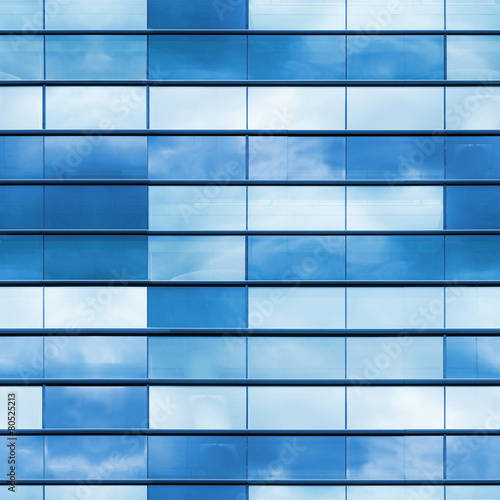 Office wall made of blue glass, seamless photo texture