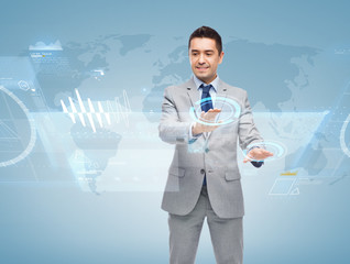 happy businessman working with virtual screens