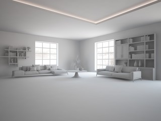 grey interior design of living room