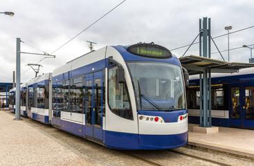 Modern tramway in Almada near Lisbon - Portugal