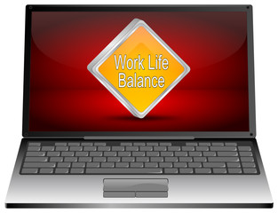 Laptop mit Work Life Balance Button