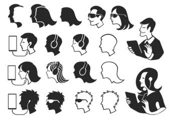 Human Heads Silhouettes