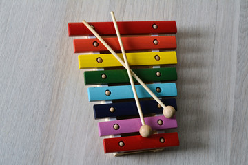 multicored xylophone with crossed sticks