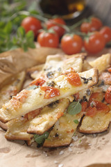 Pizza with cherry tomatoes and cheese